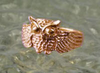 Owl Full body 18K Rose gold plated ring jewelry bird Sterling silver 925