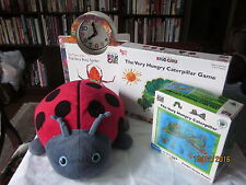 ERIC CARLE - DOUBLE IMAGE PUZZLE & game,plush ladybug, board book -clock