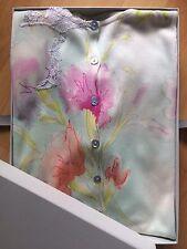 Damen Twinset 100% Seide Gr.M/38 Pastellfarben Blütenprint Spitze Renato Nucci