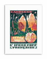 CAMBODIA INDOCHINA ANGKOR WAT TEMPLE FRANCE Poster Travel Canvas art Prints