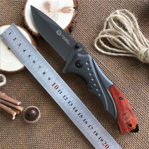 Tactical Folding Knife Wood Handle Outdoor Hunting Camping tools Self-defense