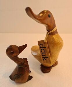 Vintage Wooden Duck Ornaments x2 Good Condition DUCK Company