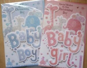 Hand made CHRISTENING cards -  Boy  -   Girl- personalised free -EXTRA LARGE