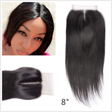 """Brazilian Closure 100% Human Hair 4x4 Straight Middle part Top lace closure 8"""""""