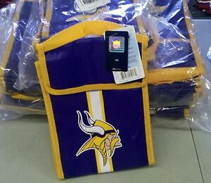"Minnesota Vikings Insulated Lunch Bag/Box Cooler Team Logo NEW 9"" x 7"" x 4.5"""