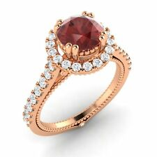 Certified 1.78 Ct Garnet & G/SI Diamond In Solid 10k Rose Gold Engagement Ring