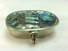 Vintage Alpaca Silver and Abolone Inlay Pill/Snuff Box
