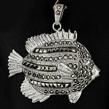 Sterling Silver 925 Large Unusual Marcasite Encrusted Designer Fish Pendant