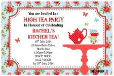 1 x HIGH TEA PARTY FOR KITCHEN TEA BRIDE PERSONALISED INVITATIONS + FREE MAGNETS