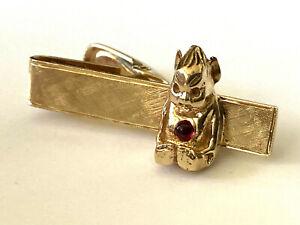 Vintage Classy 14K Yellow Solid Gold Devil Red Garnet Unique Men's Bar Tie