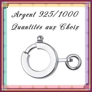 Fermoirs tube carré anneau ressort 10mm, en Argent 925/1000 . Réf: NVD B10