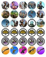 30 Fortnite Cupcake Edible Wafer Paper Birthday Party Cake Decoration Toppers #1