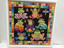 """Needlepoint frogs Crewel Framed colorful kooky 14 x 14"""" Frogs vintage"""
