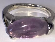 Silver Tone Ring with Purple Stone - Size R