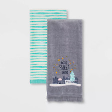 Home Sweet Home Hand Towel 2pk Embroidered Cotton Blue/Grey Striped Xmas Holiday
