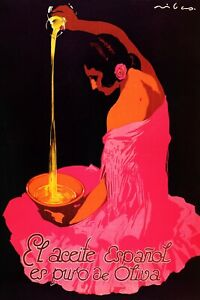 Spanish Pure Olive Oil Fashion Lady Girl Spain Food Olives Poster Repro FREE S/H