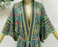 M New Boho Floral Festival Kimono Cardigan Duster Top Vtg 70s Insp Womens MEDIUM