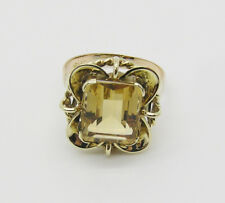 14kt Yellow and Rose Gold Emerald Cut Citrine Ring