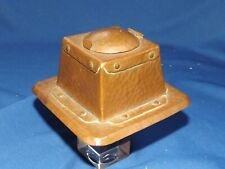 """Arts and Crafts Hammered Copper Inkwell with insert 4 3/8"""" Square & 2 1/2"""" High"""
