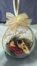 HAND MADE BORDER COLLIE DIORAMA CHRISTMAS BALL ORNAMENT BAUBLE COUNTRY DECOR