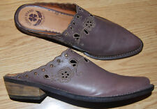 LUCKY BRAND Brown leather scalloped WESTERN BOOTS COWBOY booties 8 CLAIRE $129