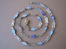 Alte Metall Modeschmuck Kette mit bunten Murano Glas Steinen 8,1 g / ca 46 cm
