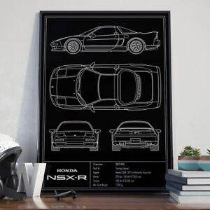 Honda Acura NSX Blueprint, Art Poster, Patent Art Print 17x24 inch size
