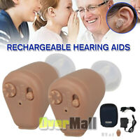 2x Rechargeable Acousticon In the Ear Hearing Aids Audiphone BTE Sound Amplifier