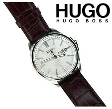 Hugo Boss Mens 42mm Leather Band - Water Resistant Quartz Silver Tone Dial Watch