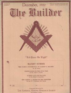 1922 Masonic Builder December - Freemasonry in the civil war; Kit Carson - Mason