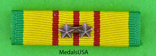 VIETNAM SERVICE MEDAL Mounted RIBBON BAR with 2 Bronze Campaign / Battle Stars