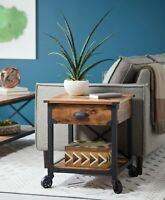 NEW Rustic Side Table Country Pine Finish Wood & Metal End Nightstand