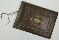 Vintage Embossed Leather Bound Photo Album Victorian Scrap Book 35 pages