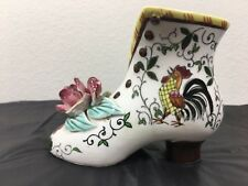 Vintage Ucagco Boot PY Early Provincial Rooster & Roses Shoe Slipper Vase 3.5""