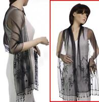 Beaded Rectangular Oblong Evening Party Costume Shawl Scarf Wrap Mesh Sequins