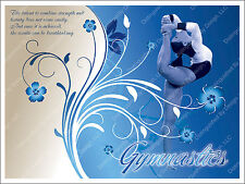 Gymnastics Inspirational Poster 18x24 with Custom Design in Blue & White