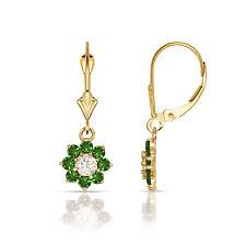 1Ct White Sapphire & Emerald Flower Cluster Dangle Leverback Earrings 14K Y Gold