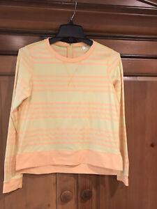 Lululemon Yellow Striped Running/Warm Up Long Sleeve Size 6