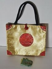 Asian Silk Handbag  Medium Sized Gold and Red plus Change Purse