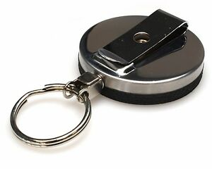 Large Retractable ID Pass Cardholder Badge Reel with Keyring | Black