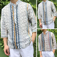 Fashion Men's Short Sleeve T shirt Hawaiian Hippy Party Shirt V Neck Causal Tee