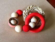 Bunny Bangles Wooden Chew & Throw Toy - Pet Rabbit / Guinea Pig Vine Ring Toss