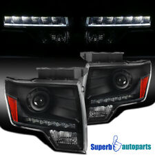 For 2009-2014 Ford F150 Black LED DRL Projector Headlights Head Lamps w/Bulbs