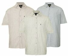 Men's Champion Tattersall 100% Cotton Check Short Sleeve Check Shirt UK M-3XL