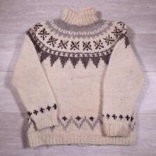 Unisex Mens Ladies Vintage Beige Icelandic Wool Fairisle Nordic Jumper S #E2317