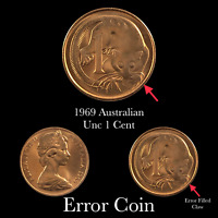 1969 Australian 1 Cent UNC Filled Claw Error Coin