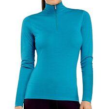 NEW Icebreaker Bodyfit 200 Oasis Stripe Zip Neck Top  UPF 30+ W's  L Merino Wool