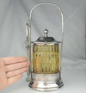Antique Victorian Silver Plate & Yellow Cut Glass Pickle Jar Castor With Tongs