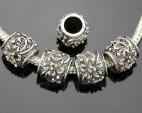 50pcs/Lot Tibetan Silver Flower Big Hole Beads Fit European Charm Bracelet ZY118