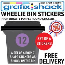 x4 WHEELIE BIN NUMBERS CUSTOM PURPLE ROUND SHAPE STICKERS WITH YOUR NUMBERS